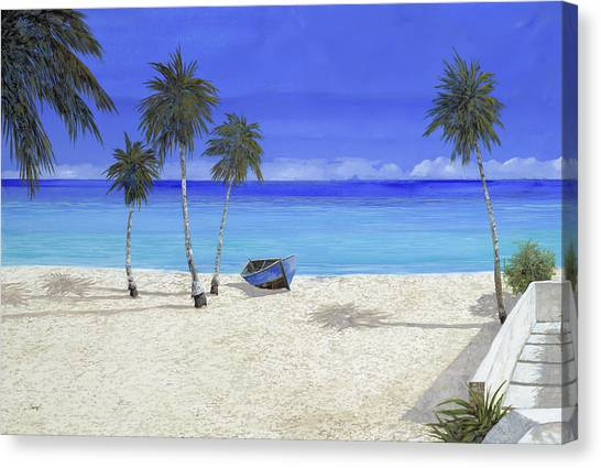 White Sand Canvas Print - Una Barca Blu by Guido Borelli