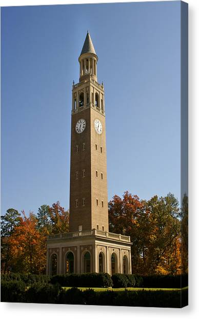 University Of North Carolina Chapel Hill Canvas Print - Unc-ch Bell Tower In Autumn by Orange Cat Art