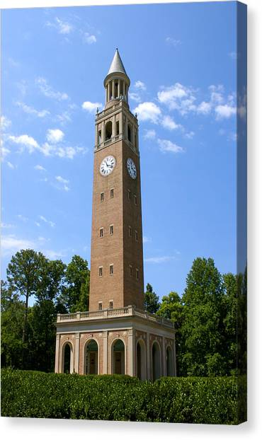 University Of North Carolina Chapel Hill Canvas Print - Unc-ch Bell Tower by Orange Cat Art