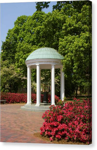 University Of North Carolina Chapel Hill Canvas Print - Unc-ch Old Well And Azaleas 01 by Orange Cat Art