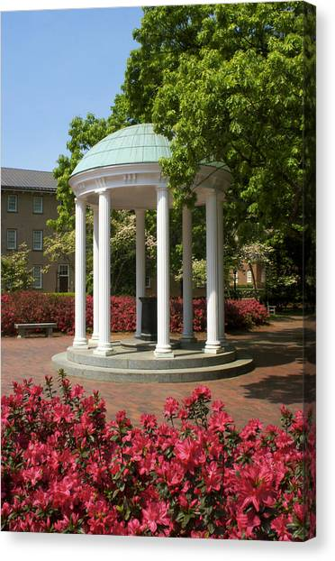 University Of North Carolina Chapel Hill Canvas Print - Unc-ch Old Well And Azaleas 03 by Orange Cat Art