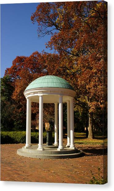 University Of North Carolina Chapel Hill Canvas Print - Unc-ch Old Well In Autumn by Orange Cat Art