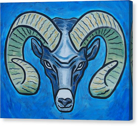 Ram With Sky Blue Canvas Print