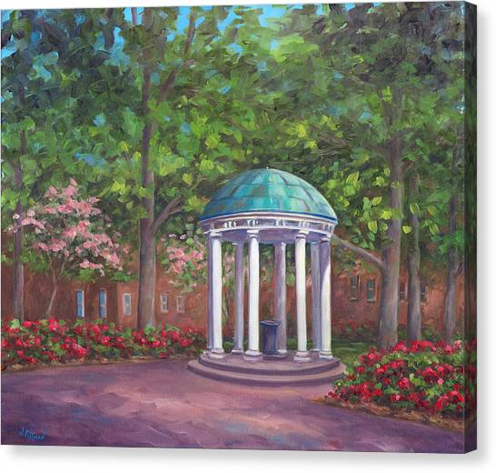University Of North Carolina Chapel Hill Canvas Print - Unc Old Well In Spring Bloom by Jeff Pittman