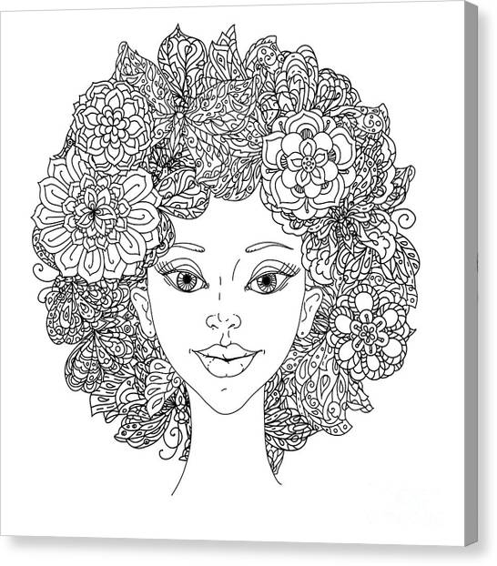 Uncolored Girlish Face For Adult Canvas Print by Mashabr