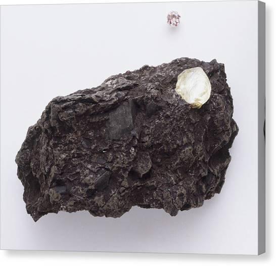 Gemstones Canvas Print - Uncut Diamond In Rock by Dorling Kindersley/uig