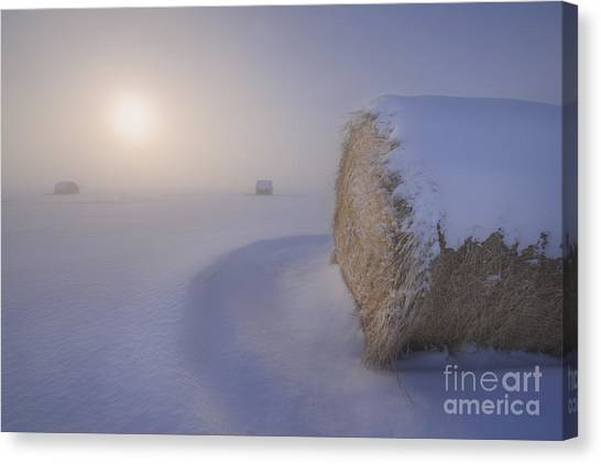 Hay Bales Canvas Print - Under A Blanket Of Snow by Dan Jurak