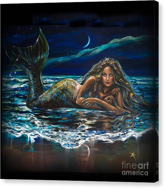 Under A Crescent Moon Mermaid Pillow Canvas Print