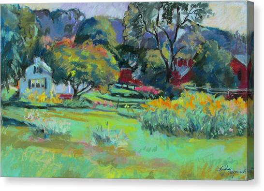 Under Mountain Farm In Summer Canvas Print