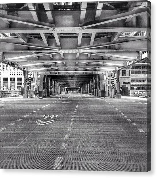 White Canvas Print - Chicago Wells Street Bridge Photo by Paul Velgos
