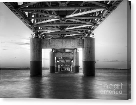 Northern Michigan Canvas Print - Under The Mackinac Bridge by Twenty Two North Photography