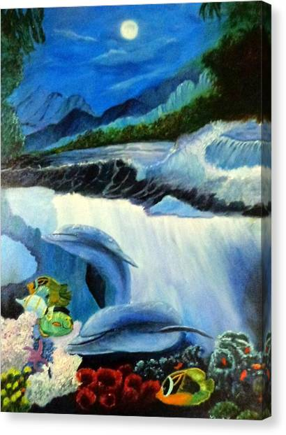 Water Skis Canvas Print - Under The Waves by Janis  Tafoya