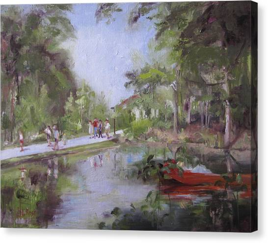 Under The Willows In The Crystal Bridges Pond Canvas Print