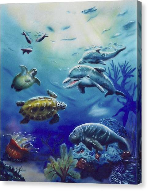 Under Water Antics Canvas Print