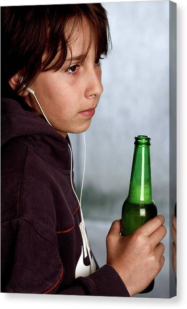 Headphones Canvas Print - Underage Drinking by Mauro Fermariello/science Photo Library
