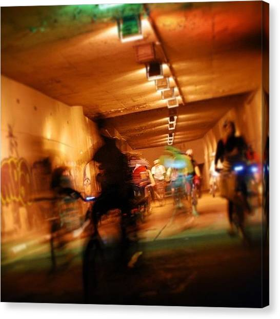 Bicycle Canvas Print - Underground Bikers - Sao Paulo by Carlos Alkmin