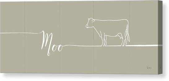 Cow Farms Canvas Print - Underlined Farm IIi Greige by Veronique Charron