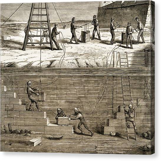 Diving Bell Canvas Print - Underwater Construction C.1850 by Sheila Terry