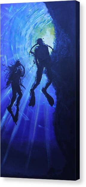 Underwater Lovers Canvas Print by Morphd Mohawk
