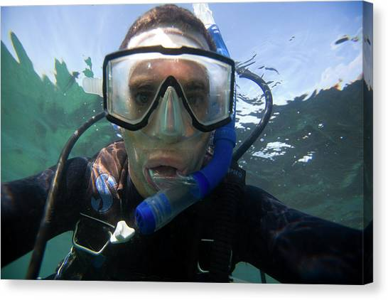 Self Discovery Canvas Print - Underwater Self Portrait Of A Man Scuba by Corey Rich