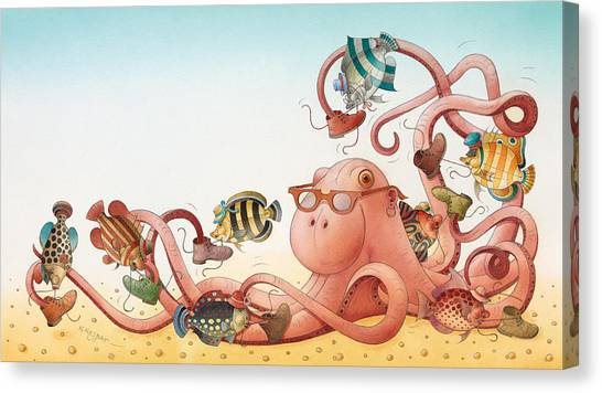 Octopus Canvas Print - Underwater Story 05 by Kestutis Kasparavicius