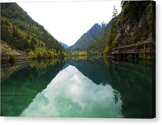 Unesco Landscpe Photostories Of Tibet Jiuzhaigou Canvas Print by Sundeep Bhardwaj Kullu sundeepkulluDOTcom