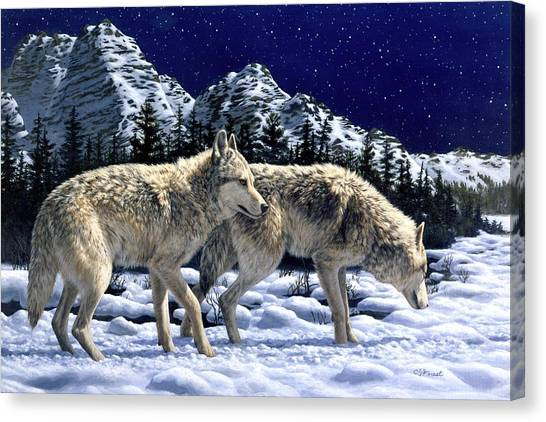 Small Mammals Canvas Print - Wolves - Unfamiliar Territory by Crista Forest