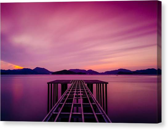 Unfinished Pier At Sunset Canvas Print