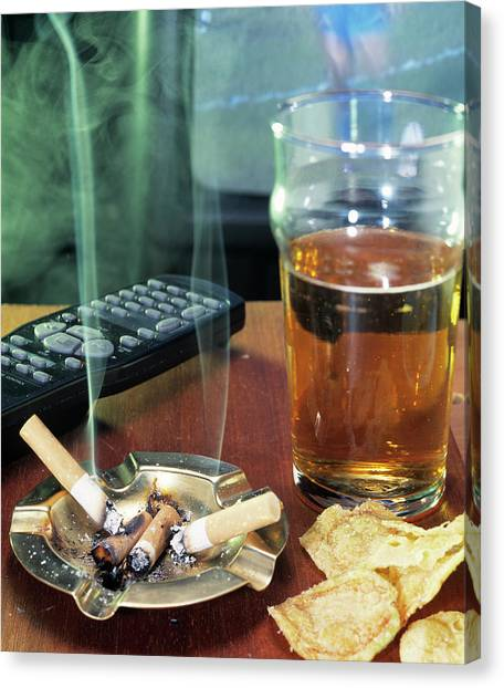 Pint Glass Canvas Print - Unhealthy Lifestyle by Sheila Terry/science Photo Library