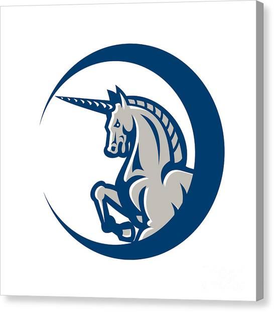 Unicorns Canvas Print - Unicorn Horse Prancing Side by Aloysius Patrimonio