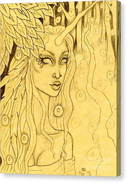 Unicorn In The Woods Sketch Canvas Print by Coriander  Shea