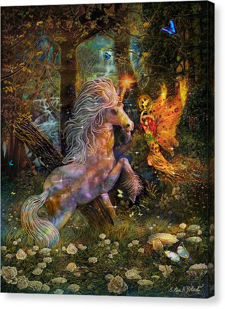 Unicorn King-angel Tarot Card Canvas Print