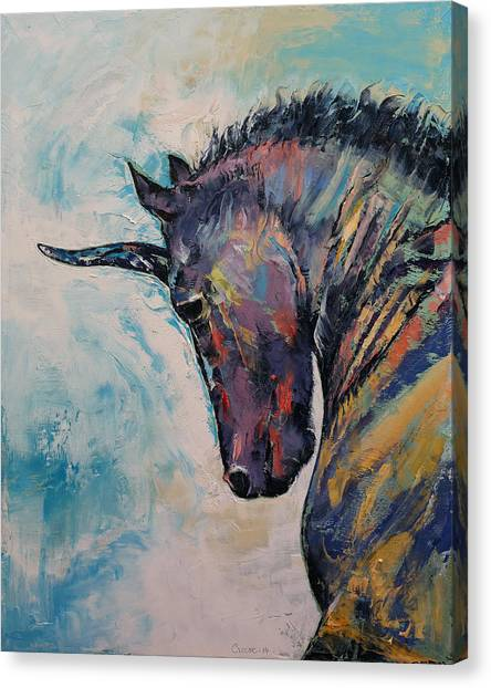 Black Stallion Canvas Print - Dark Unicorn by Michael Creese