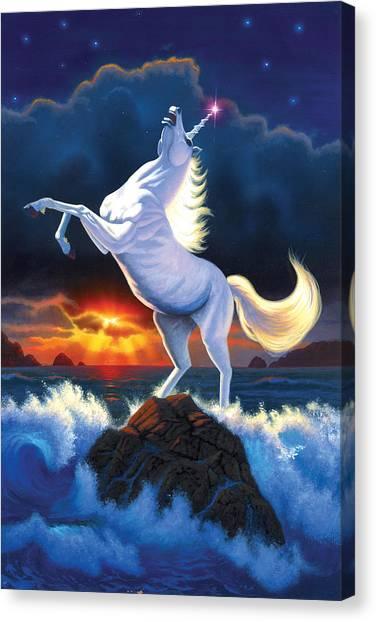 Unicorns Canvas Print - Unicorn Raging Sea by Chris Heitt