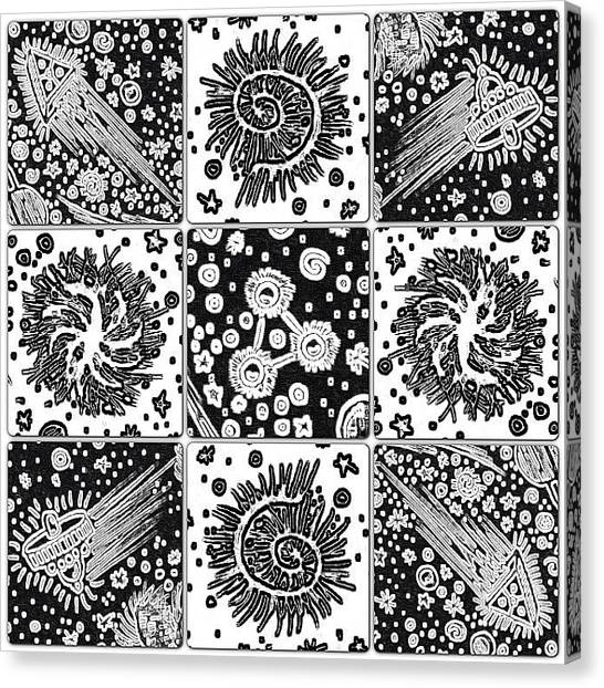 Spiral Canvas Print - unidentified Diatoms 0003 #drawing by Daniel Icaza