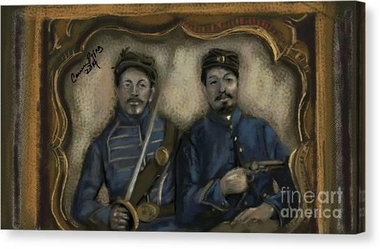 Us Civil War Canvas Print - Unidentified Union Soldiers by Carrie Joy Byrnes