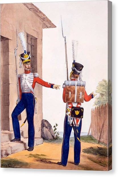 Royal Guard Canvas Print - Uniform Of The 8th Infantry Regiment by Charles Aubry