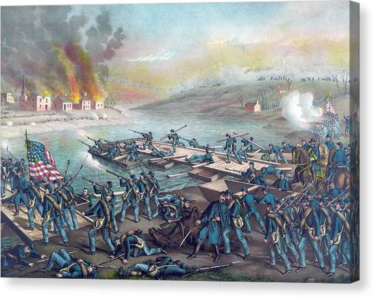Army Of The Potomac Canvas Print - Union Forces Under Burnside Crossing The Rappahannock by American School