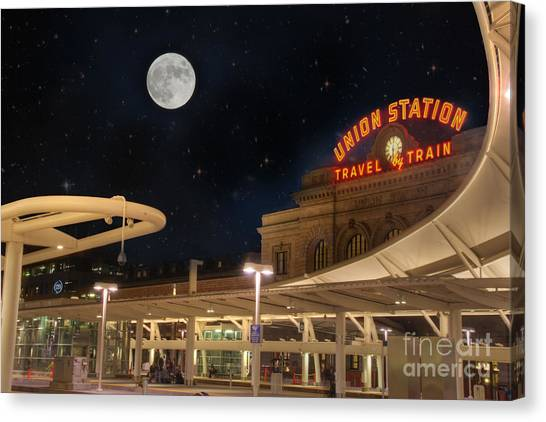 Union Station Denver Under A Full Moon Canvas Print