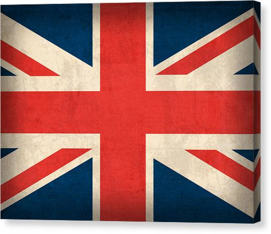 London Canvas Print - United Kingdom Union Jack England Britain Flag Vintage Distressed Finish by Design Turnpike