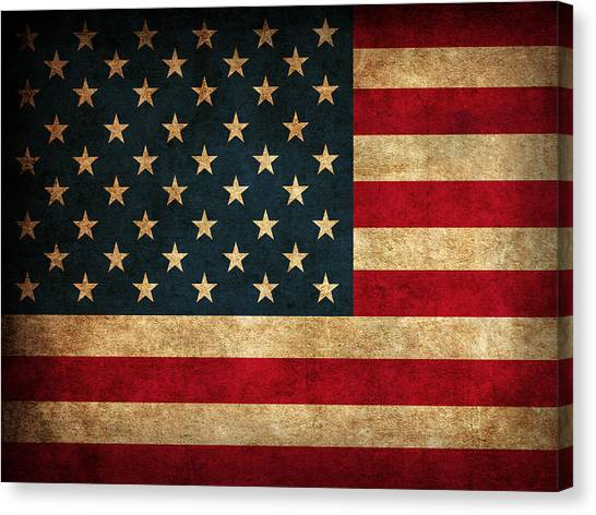 Distressed Canvas Print - United States American Usa Flag Vintage Distressed Finish On Worn Canvas by Design Turnpike