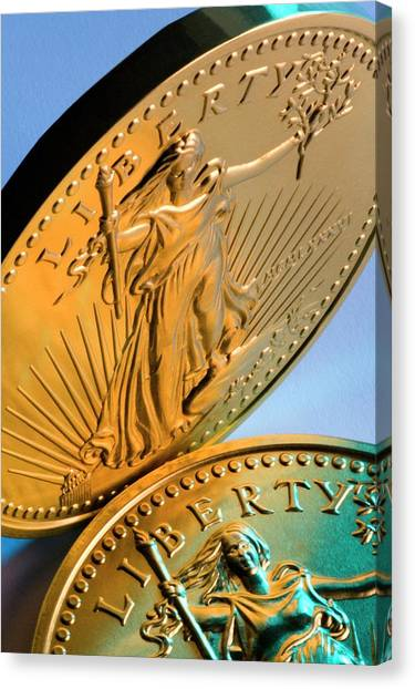Economics Canvas Print - United States Fifty Dollar Gold Coins by Steve Allen/science Photo Library