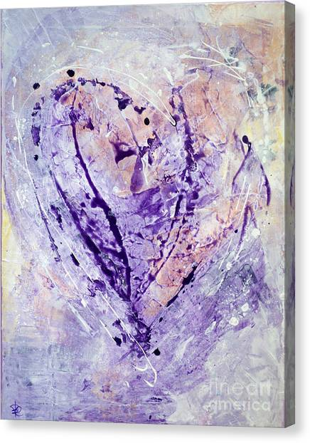 Universal Heart Pastel Purple Lilac Abstract By Chakramoon Canvas Print by Belinda Capol