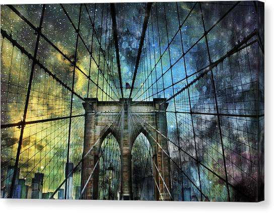 Universe And The Brooklyn Bridge Canvas Print