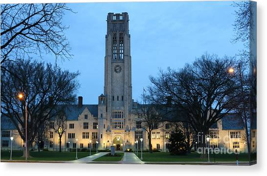 University Of Toledo Canvas Print - University Hall At Night 5047 by Jack Schultz