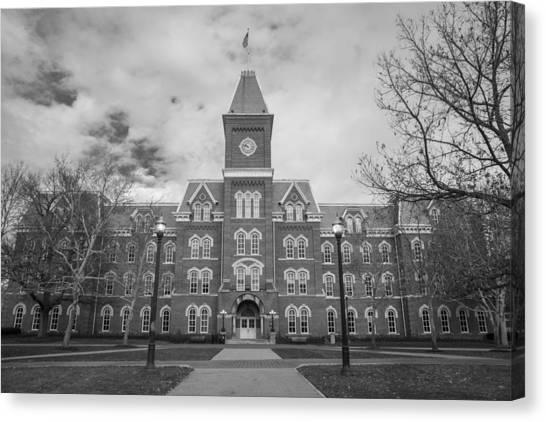 Ohio State University Canvas Print - University Hall Black And White by John McGraw