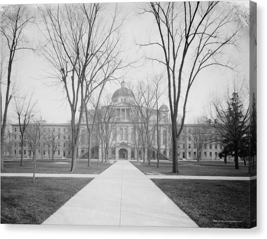 University Of Michigan Canvas Print - University Hall, University Of Michigan, C.1905 Bw Photo by Detroit Publishing Co.