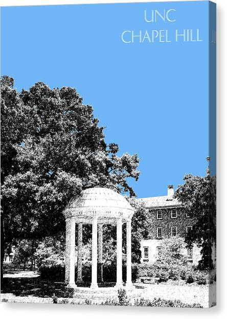 Colleges And Universities Canvas Print - University North Carolina Chapel Hill - Light Blue by DB Artist