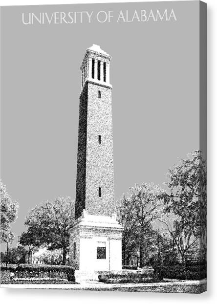 Colleges And Universities Canvas Print - University Of Alabama - Silver by DB Artist