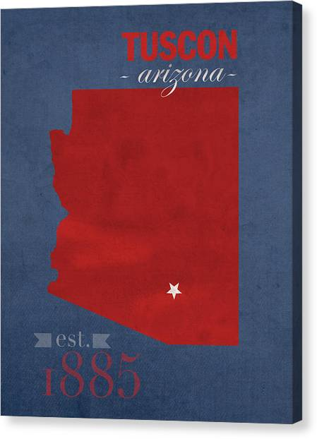 Pac 12 Canvas Print - University Of Arizona Wildcats Tuscon Arizona College Town State Map Poster Series No 011 by Design Turnpike